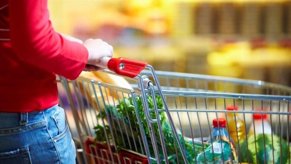 Une femme poussant un panier dans une épicerie.