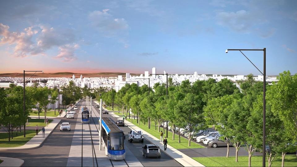 Esquisse du réseau structurant de transport en commun de la Ville de Québec.