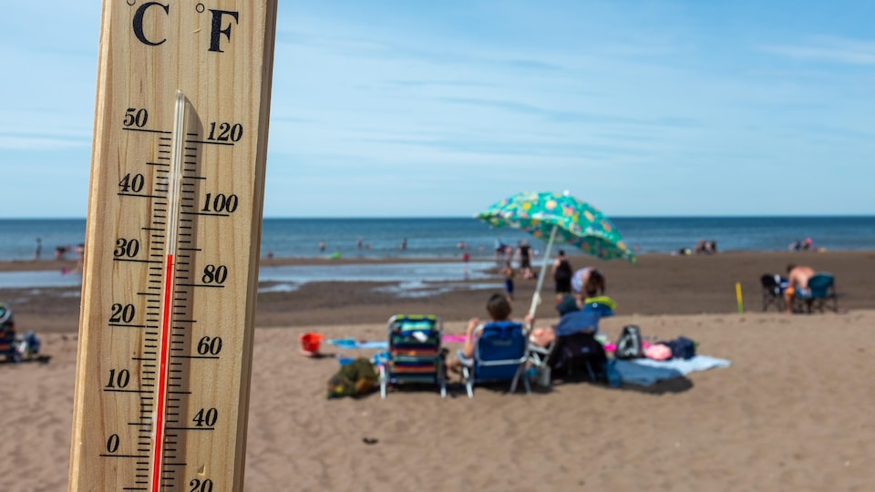 Vue rapprochée d'un thermomètre avec en arrière-plan des gens sur une plage.