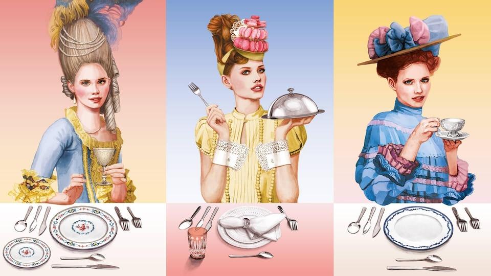 Illustration montrant trois femmes de différentes époques devant des couverts posés sur une table.