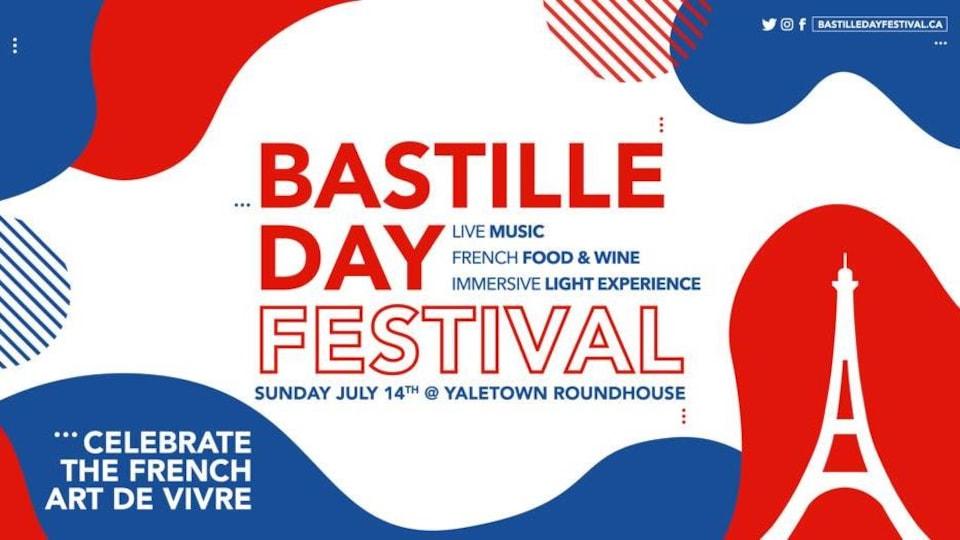 L'invitation précise que les festivités du 14 juillet auront lieu le dimanche 14 juillet au centre Roundhouse de Vancouver.