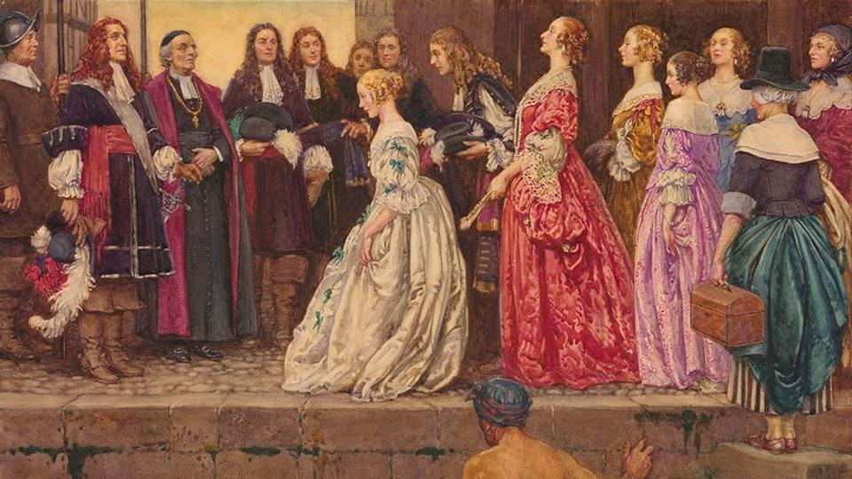 Tableau montrant des femmes du 17e siècle faisant la révérence devant des hommes.