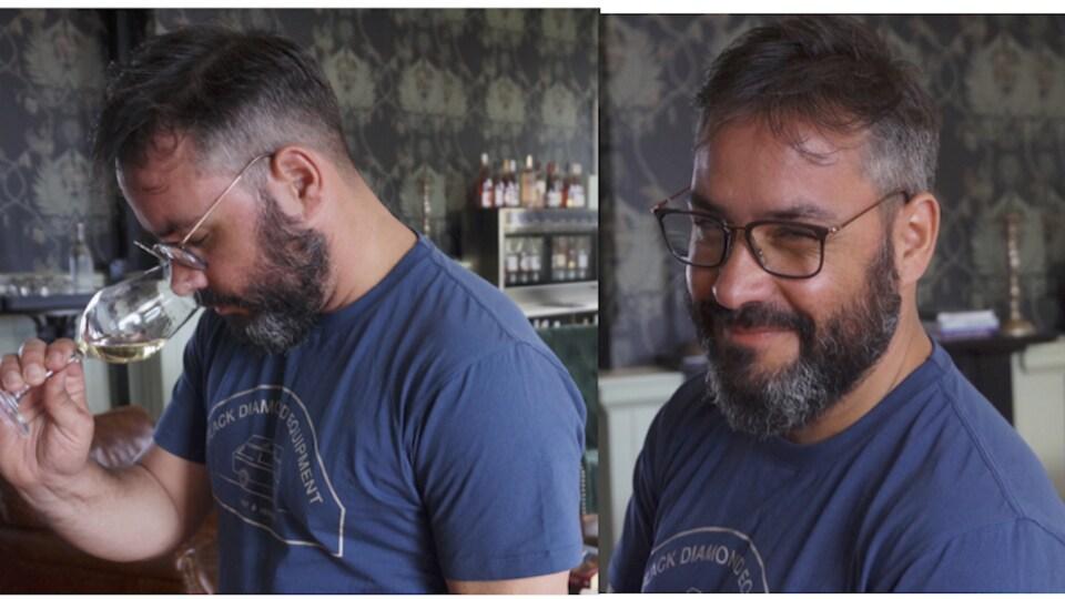 Le sommelier  Florian Monchy-Olivet qui boit du vin et qui sourit sur le deuxième plan.