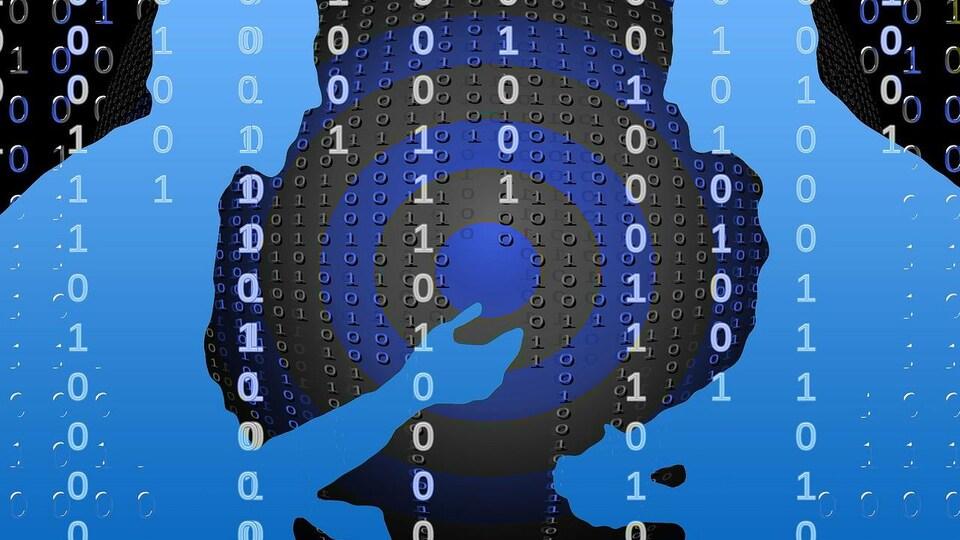 Deux silhouettes d'hommes sur fond de données informatiques