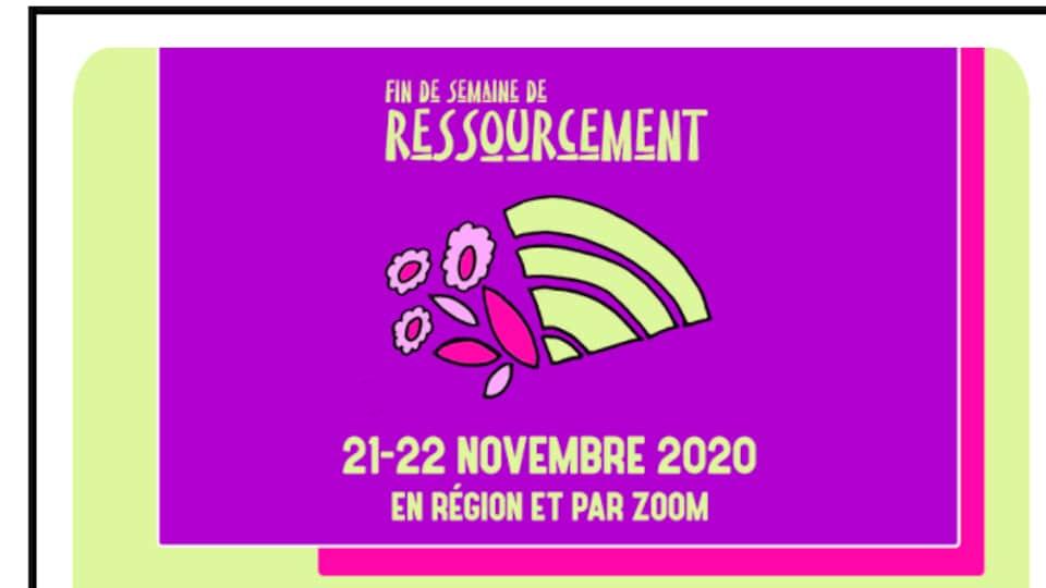 L'affiche annonçant la fin de semaine de ressourcement organisé par la Fédération provinciale des femmes de la Saskatchewan.