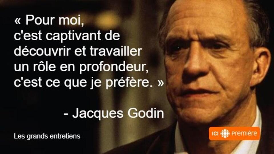 Montage du visage de Jacques Godin accompagné de la citation : « Pour moi, c'est captivant de découvrir et travailler un rôle en profondeur, c'est ce que je préfère. »