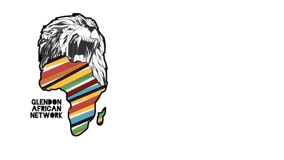 Logo du Glendon African Network, représentant un lion et une carte de l'Afrique