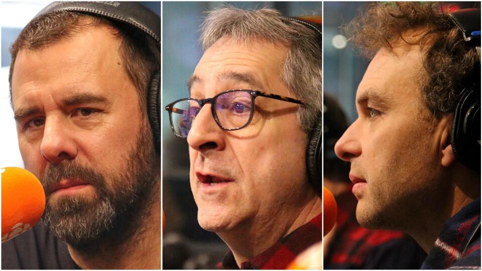 Bruno Marcil, Martin Drainville et Patrice Dubois, en studio