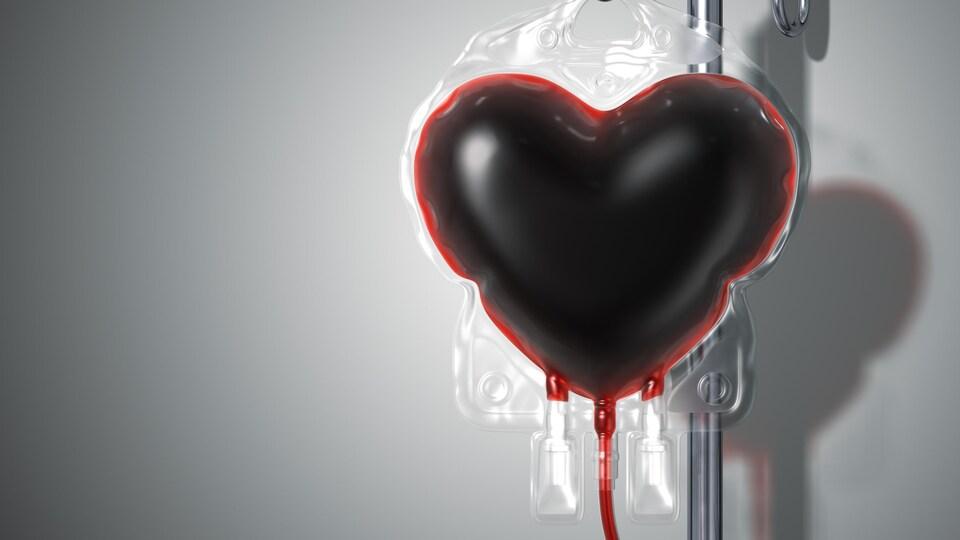 Un dispositif de transfusion de sang en forme de coeur