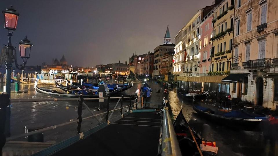 Des gondoles sur les rivages de Venise.