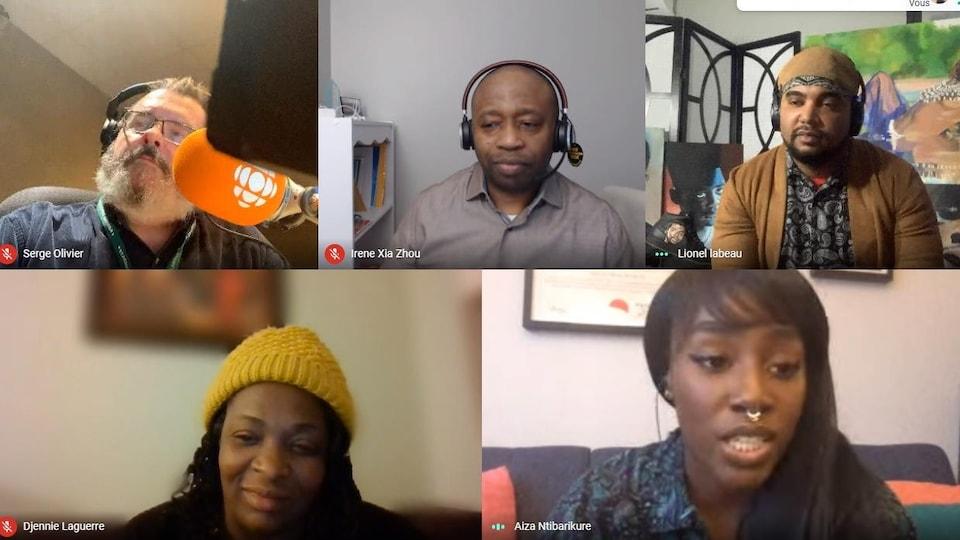 Capture d'écran de Google Meet avec Serge  Olivier, Body Ngoy, Lionel Labeau, Djennie Laguerre et Aiza Ntibarikure.
