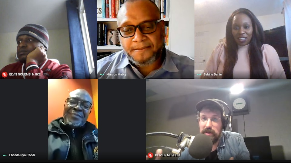 Elvis Nouemsi, Marcus Mabry, Sabine Daniel, Boulou Ebanda De B'Beri et Olivier Mercure en conversation.