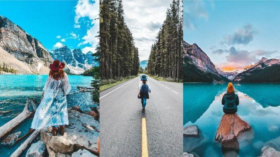 Trois phots de Myriam, de dos, dans trois paysages typiquement canadiens.