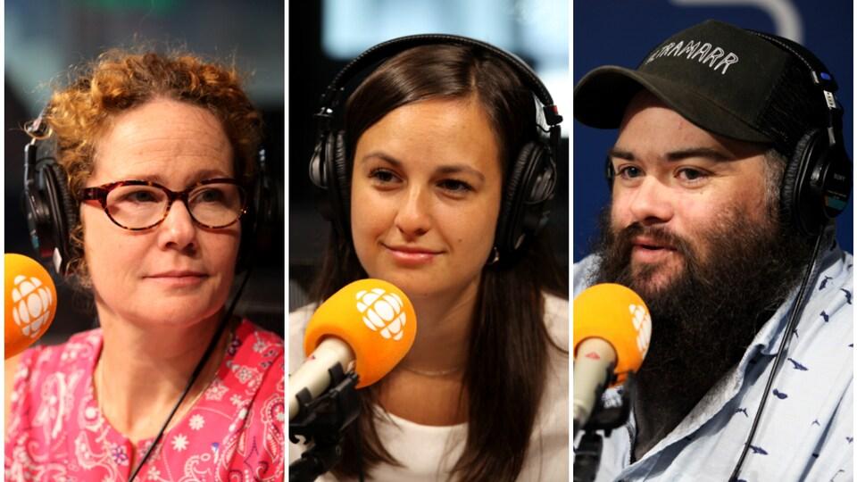 Hélène Baribeau, Charlélie Blais-Pouliot et Mikaël Bergeron, en studio