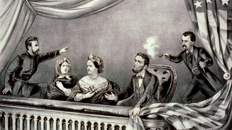 Dessin représentant un homme debout derrière Abraham Lincoln assis et qui lui tire dessus dans la nuque. À ses côtés sont assises deux femmes et un homme debout lève le bras pour arrêter le tireur.