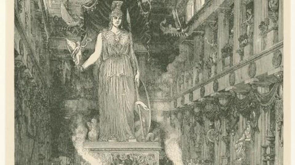 Dessin montrant l'immense statue trônant au centre de l'édifice grec.