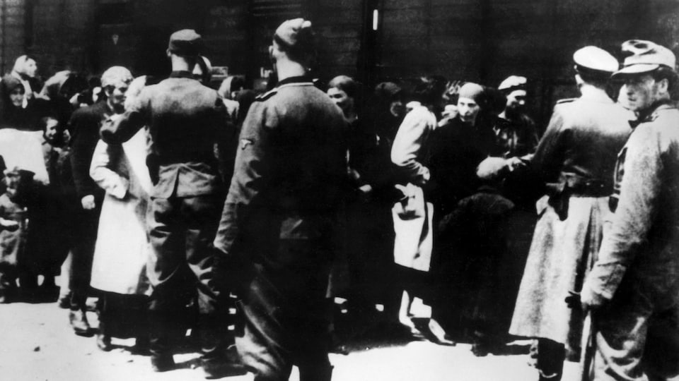 Des SS escortent des détenus au camp d'Auschwitz-Birkenau.
