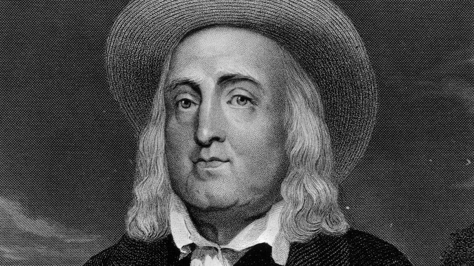 Portrait en gravure du juriste et philosophe Jeremy Bentham.