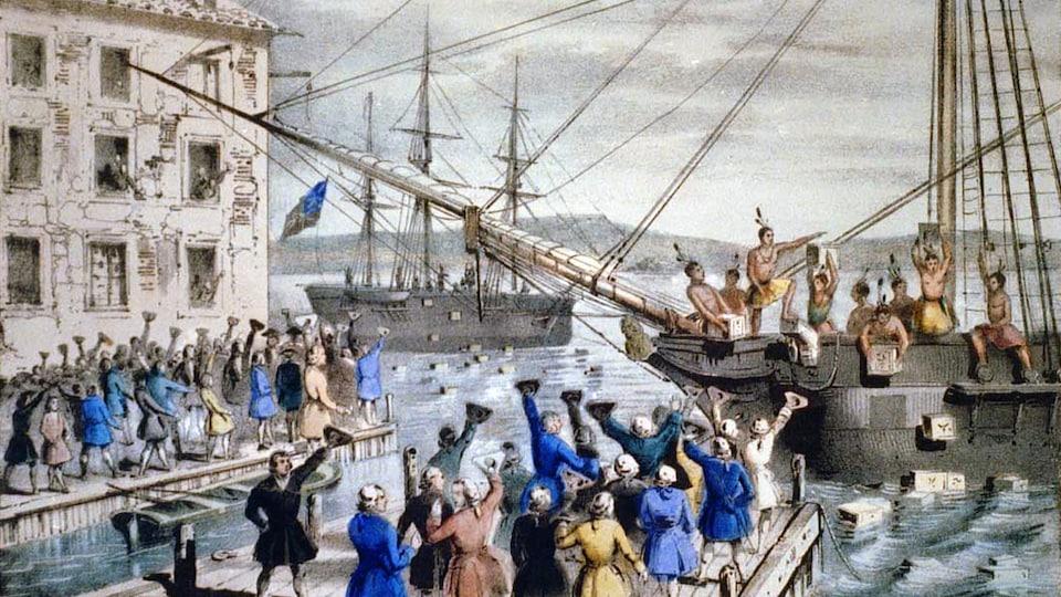Une toile représentant le Boston Tea Party.