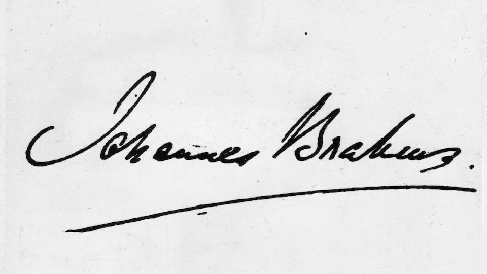 Photo de la signature du compositeur allemand Johannes Brahms, prélevée en 1870.