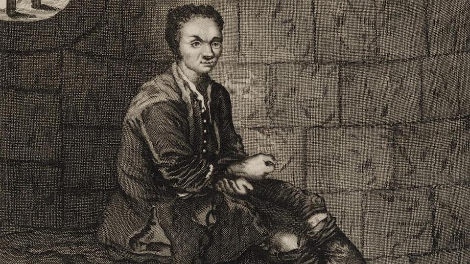 Gravure représentant Louis Dominique Cartouche en prison.