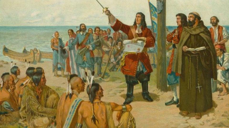 Cavelier de La Salle lit un document sur le bord du golfe du Mexique. Il est entouré de son équipage et d'Autochtones.