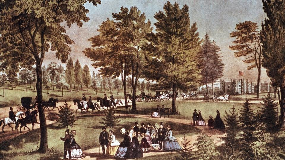 Une illustration de Central Park vers 1875 où l'on voit des citadins, des carrosses et des chevaux.
