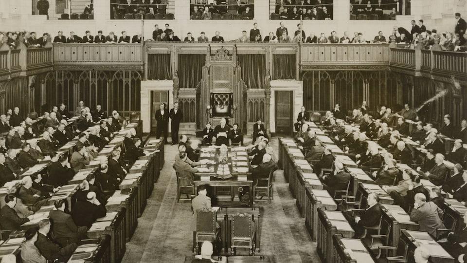 Cliché et noir et blanc de la Chambre des communes.