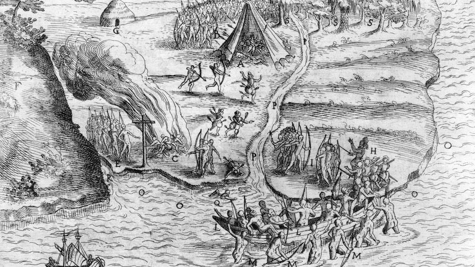 Dessin en noir et blanc relatant l'attaque de Samuel de Champlain et des Innus contre les Iroquois sur les rives du futur lac Champlain, le 29 juin 1609.