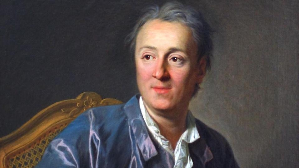Un portrait représente un homme qui regarde au loin et qui fait s'apprête à écrire.