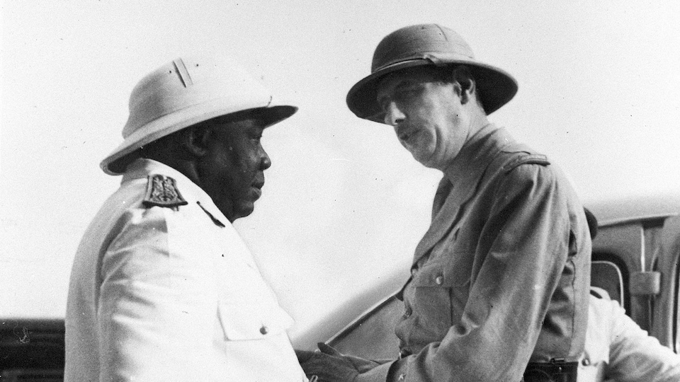 Le gouverneur du Tchad, Félix Éboué, et le général de Gaulle, chef de la France libre.