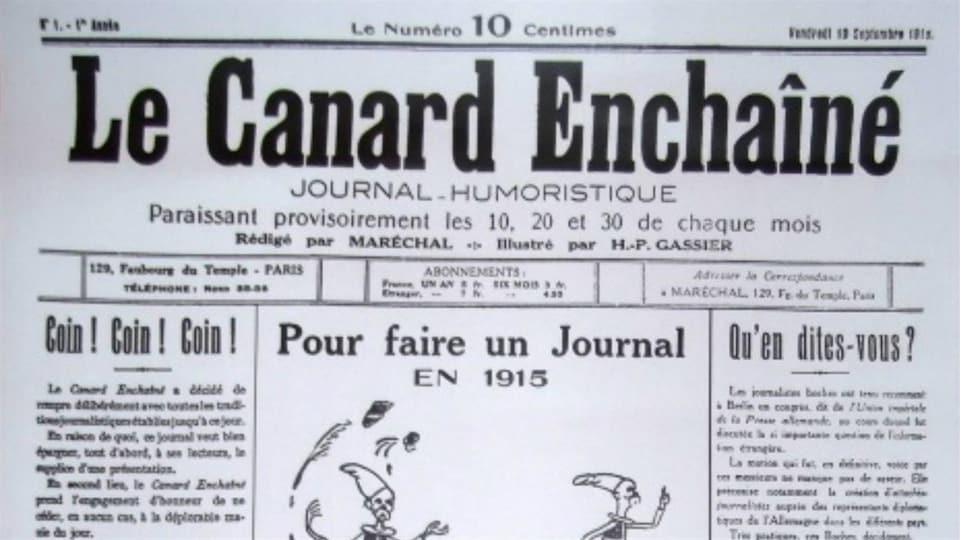 Le premier numéro du Canard enchaîné, paru le 10 septembre 1915.