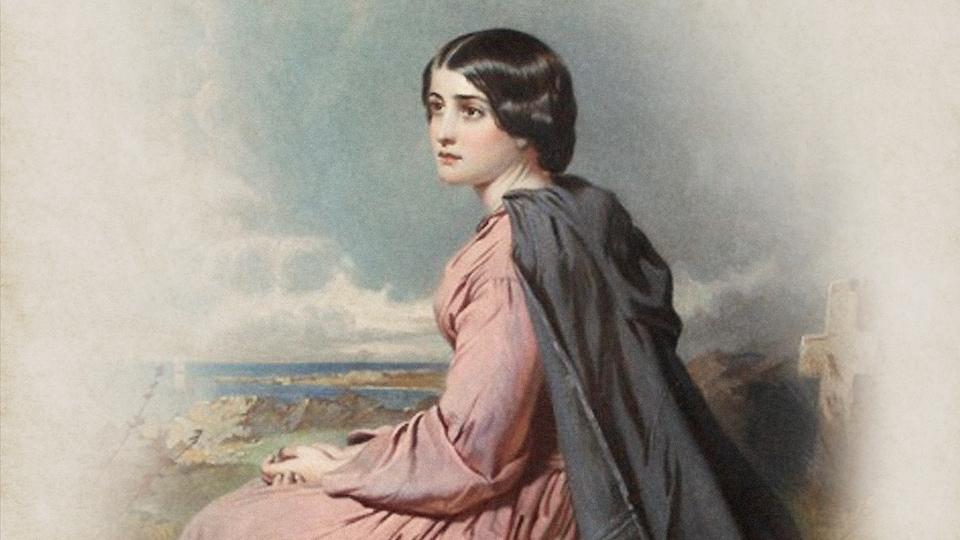 Évangéline imaginée par le peintre Thomas Faed, puis gravée par le frère de l'artiste, James Faed