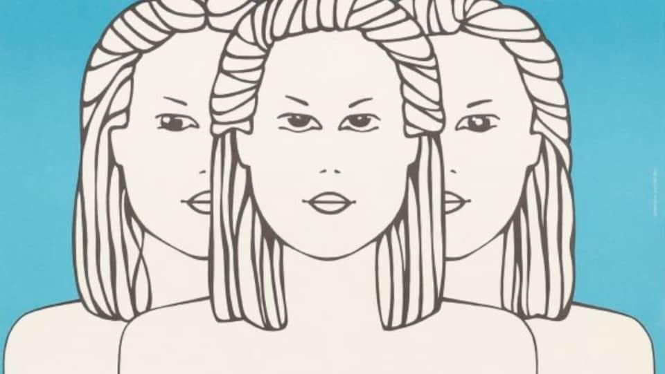 Illustration de trois visages féminin sur l'affiche promotionnelle originale de la pièce Les fées ont soif.