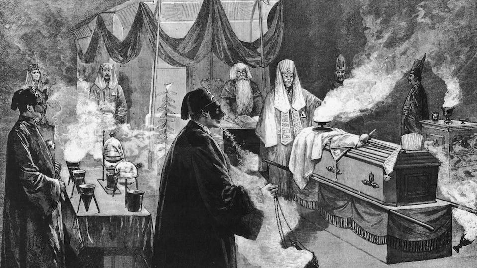 Illustration en noir et blanc montrant des personnages costumés en train de faire brûler de l'encens lors d'un rituel maçonnique.