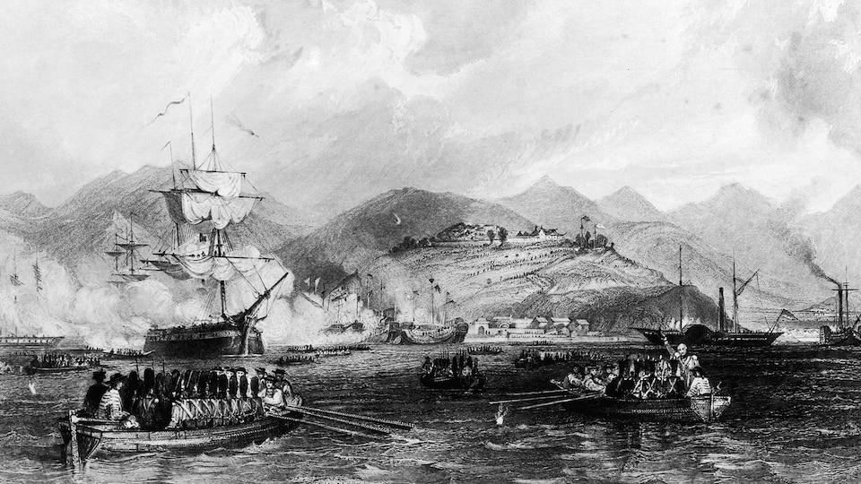 Un dessin d'une bataille navale en Chine.