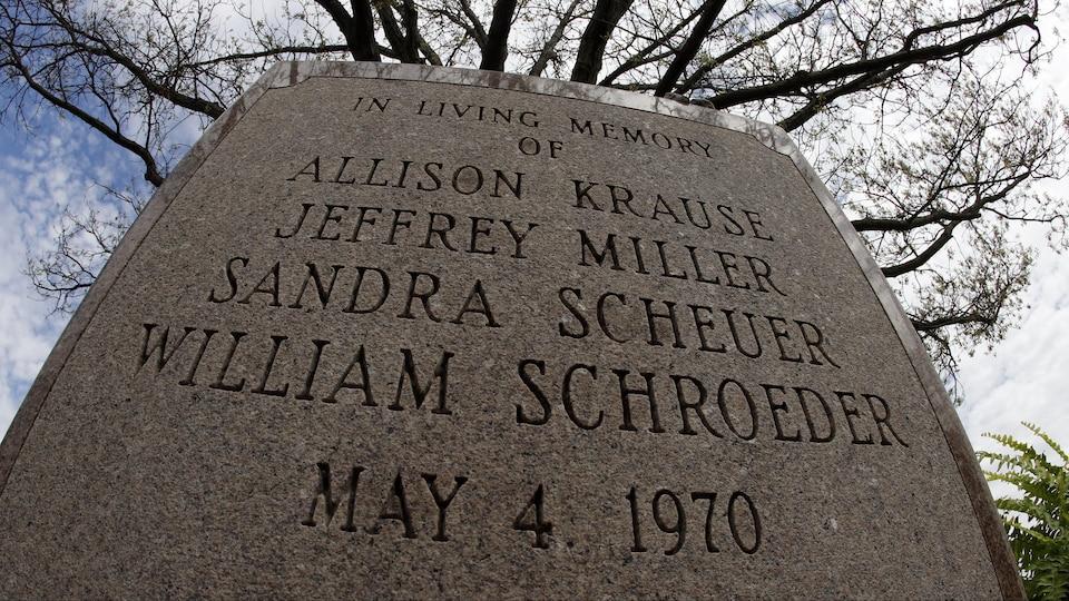 Monument à la mémoire d'Allison Krause, de Jeffrey Miller, de Sandra Scheuer et de William Schroeder, morts lors de la fusillade de l'Université d'État de Kent, le 4 mai 1970.