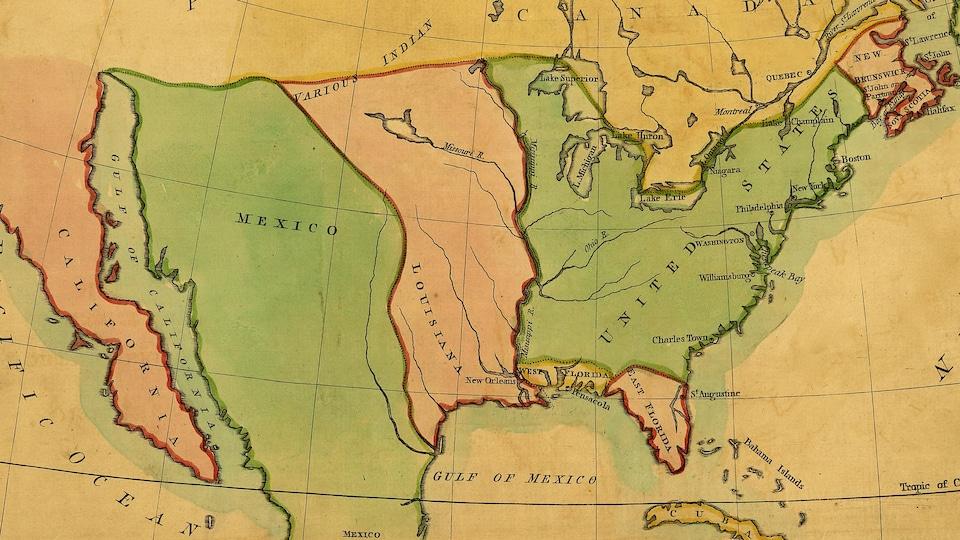 Carte de l'Amérique du Nord en 1803.