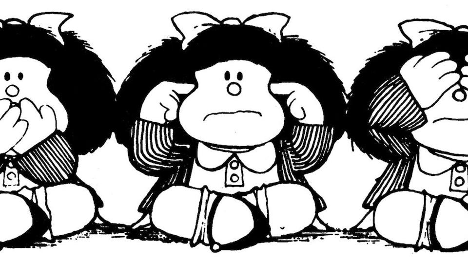 Le personnage de Mafalda dans les positions des singes de la sagesse.