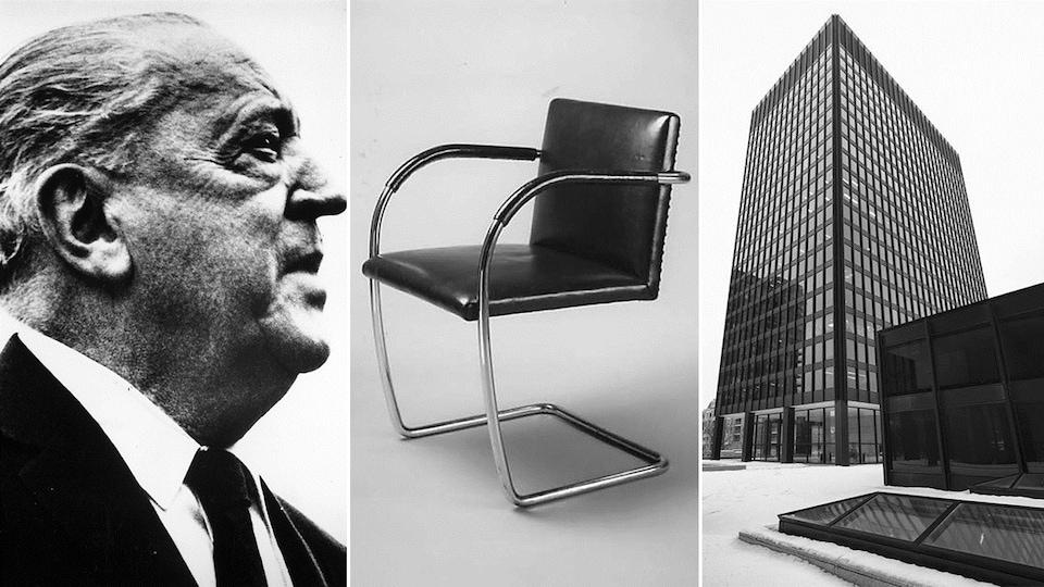 L'architecte Ludwig Mies van der Rohe, avec deux de ses créations : la chaise BRNO (ca. 1930) et un des édifices du complexe Westmount Square, à Montréal.