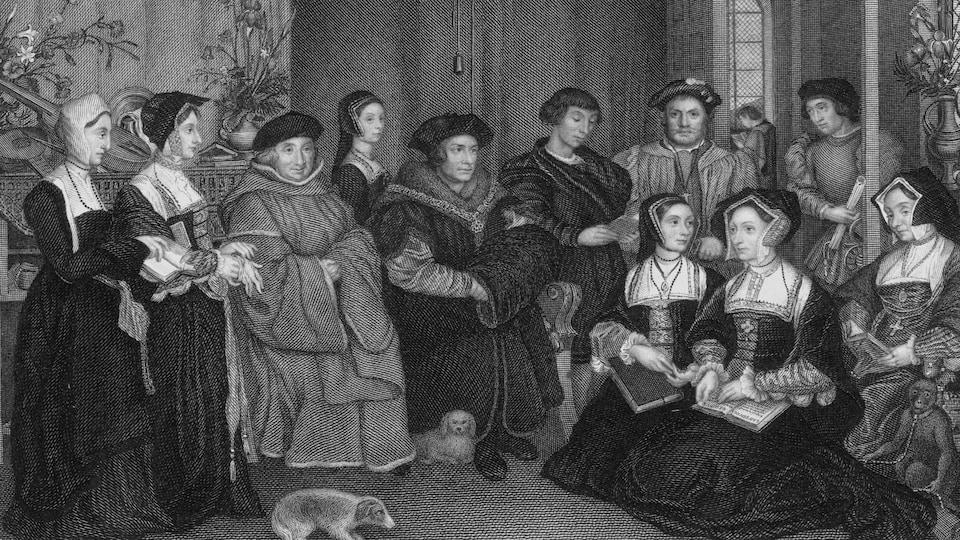 Gravure représentant Thomas More avec sa famille vers 1526.