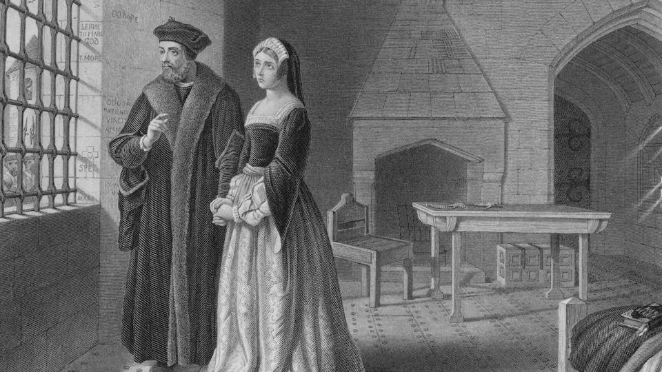 Gravure représentant Thomas More durant son emprisonnement pour trahison. À sa droite, sa fille Margaret Roper.