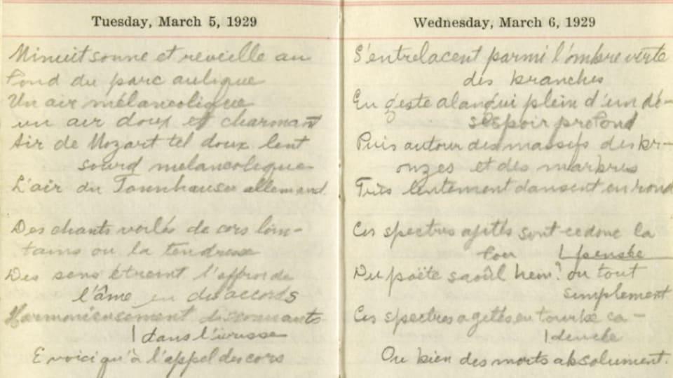 Aperçu du manuscrit <i>Les tristesses</i>, d'Émile Nelligan (1929).