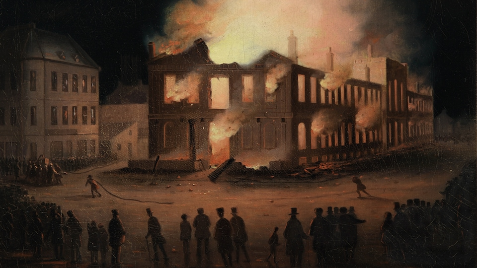 Détail d'une peinture illustrant l'incendie du parlement de Montréal, en 1849