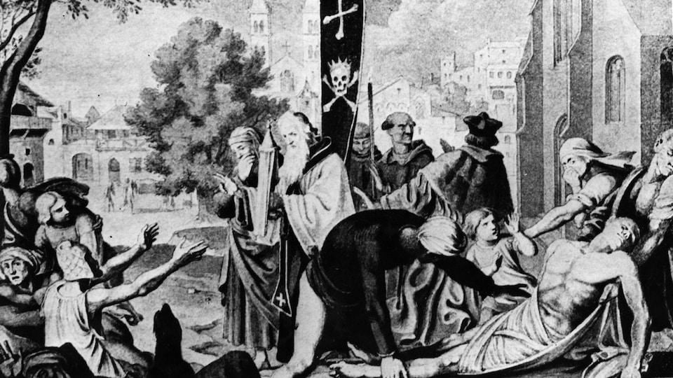 Peinture illustrant les effets de la peste à Bâle, en Suisse, en 1349.