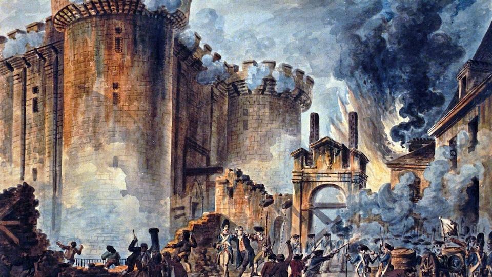 Une aquarelle montrant la prise de la Bastille.