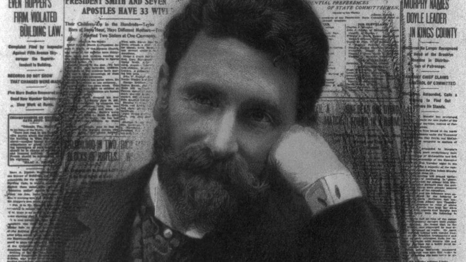 Montage sur lithographie d'un portrait du magnat de la presse Joseph Pulitzer et de la une d'un numéro du New York World.