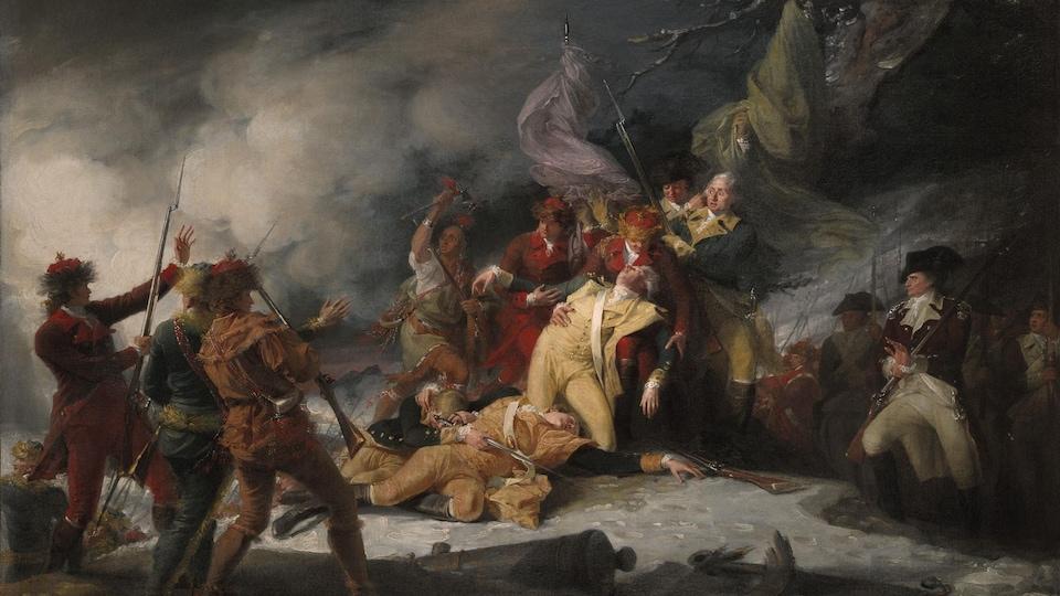 Toile intitulée La mort du général Montgomery à la bataille de Québec, le 31 décembre 1775, réalisée en 1786.