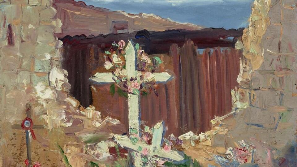 Portion d'une peinture intitulée Au cœur des ruines à Arras (1919), montrant des  tombes fleuries au milieu de vestiges de murets de pierre.