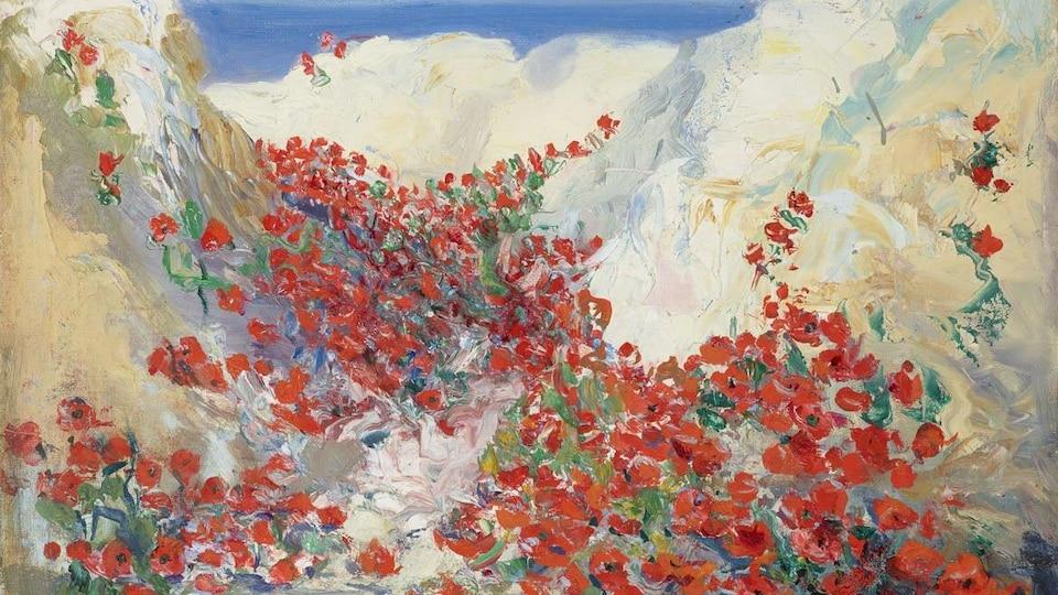 Portion d'une peinture intitulée Tranchée de la somme (1919), montrant un paysage de fleurs rouges.